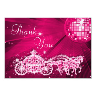 Princess Coach & Horses & Disco Ball Thank You 3.5x5 Paper Invitation Card