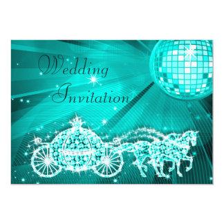 Princess Coach, Horses & Disco Ball Wedding Card