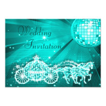 Princess Coach, Horses & Disco Ball Wedding Invitation