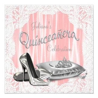 Princess Coral and Gray Quinceanera Invitations