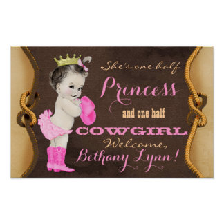 Princess Cowgirl Baby Shower Banner Poster