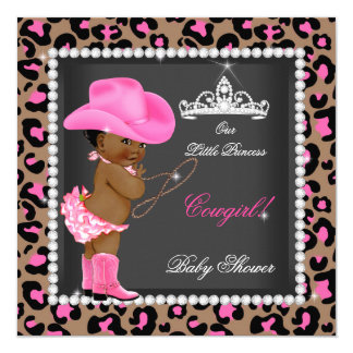 Princess Cowgirl Baby Shower Pink Brown Ethnic Card