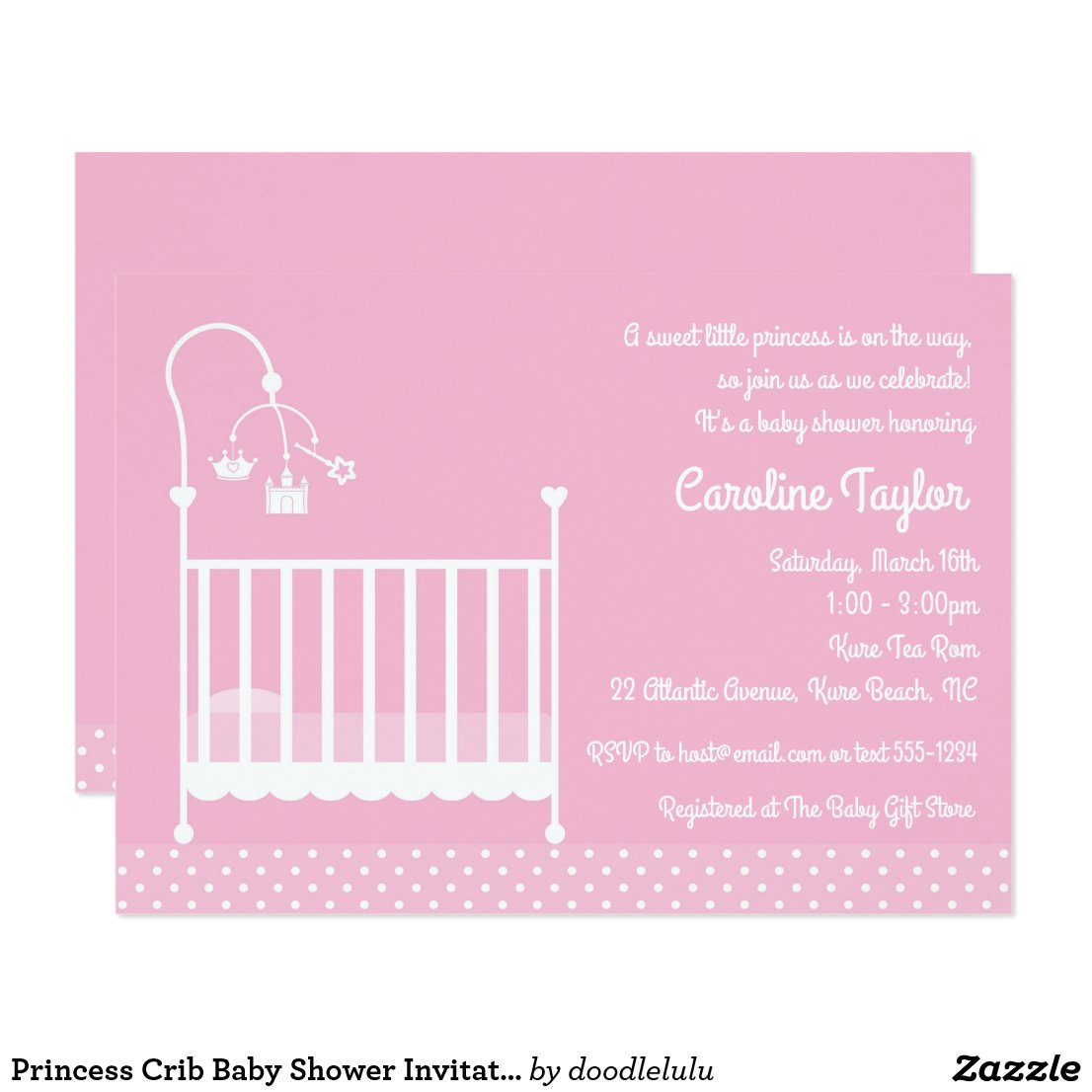 Princess Crib Baby Shower Invitation - Pink