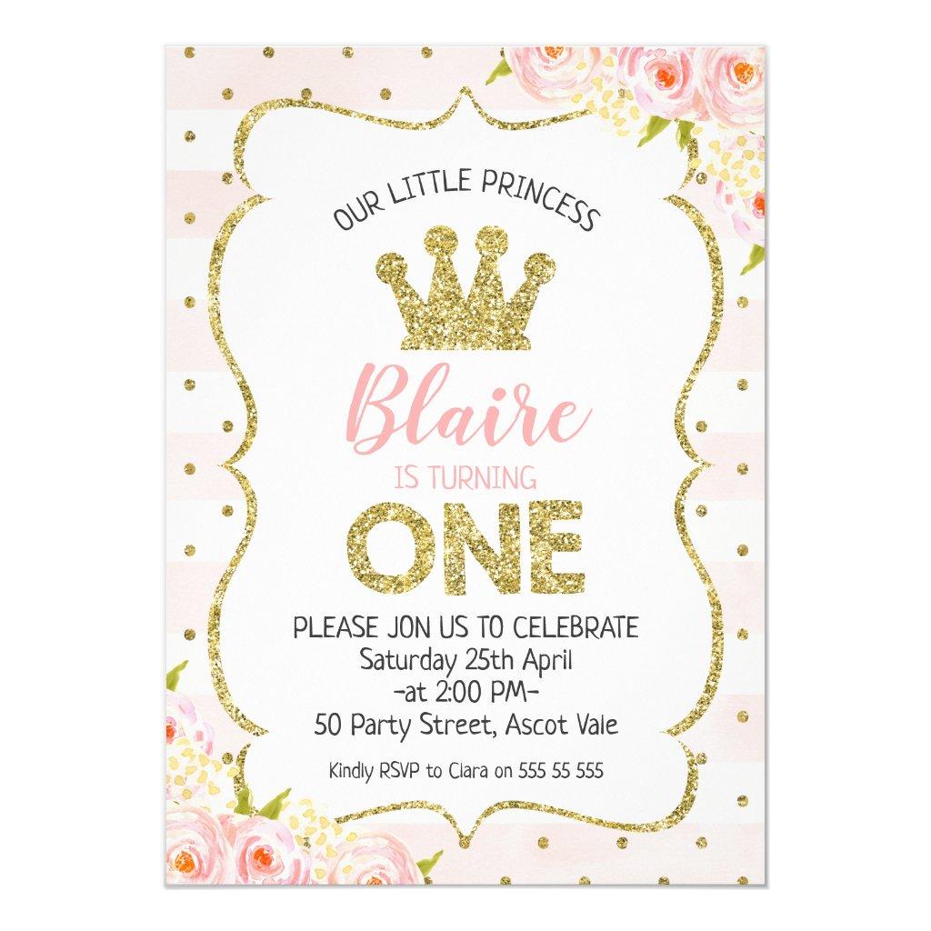 Princess Crown 1st Birthday Invitation