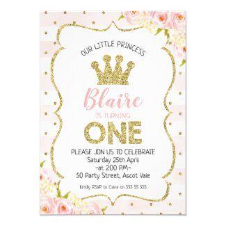 Princess Crown 1st Birthday Invitation