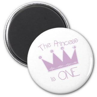 Princess Crown 1st Birthday 2 Inch Round Magnet