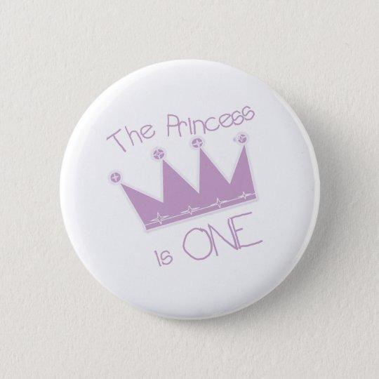 Princess Crown 1st Birthday Pinback Button