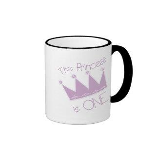 Princess Crown 1st Birthday Tshirts and Gifts Ringer Coffee Mug