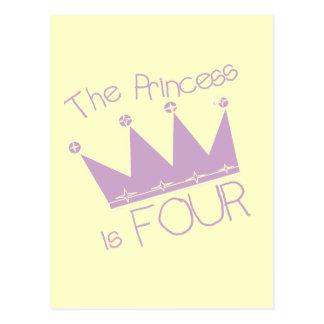 Princess Crown 4th Birthday Tshirts Postcard