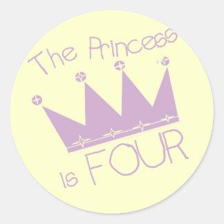 Princess Crown 4th Birthday Tshirts Classic Round Sticker