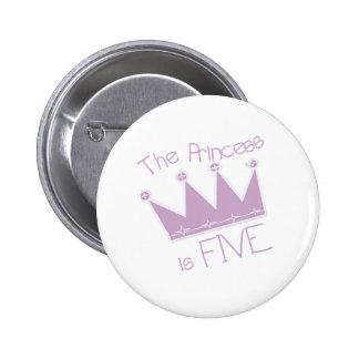 Princess Crown 5th Birthday Pins