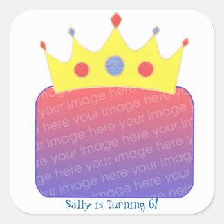 Princess Crown Add Photo Birthday Stickers