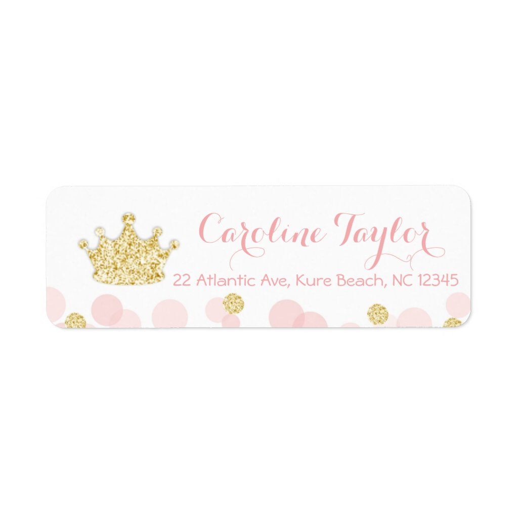 Princess Crown Baby Shower Address Label pink gold