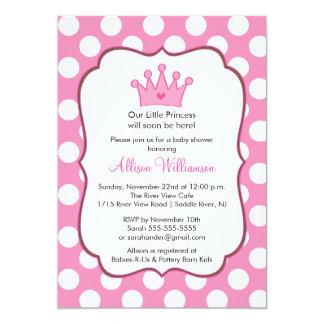 Princess Crown Baby Shower Invitation Pink Dots