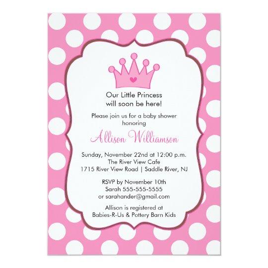 princess crown baby shower invitation pink dots  zazzle, Baby shower invitations