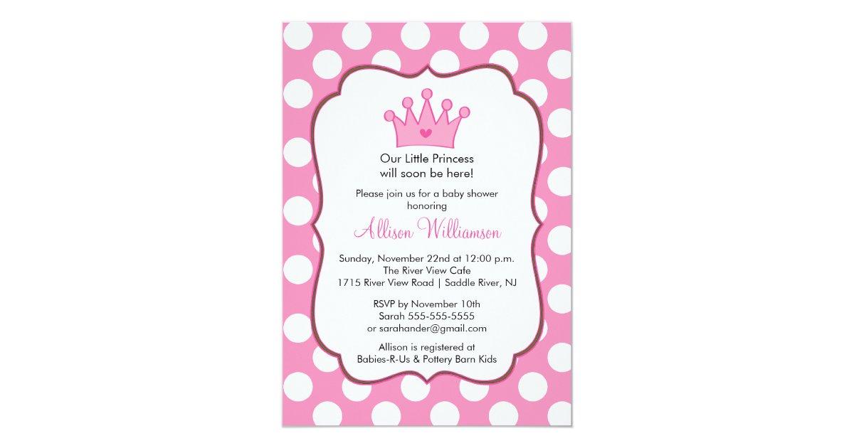 Princess Crown Baby Shower Invitation Pink Dots | Zazzle.com