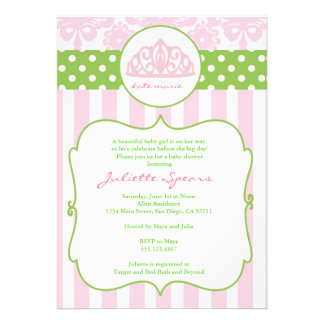Princess Crown Baby Shower Invitations Pink Green