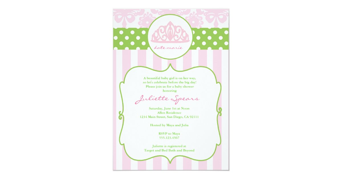 Princess Crown Baby Shower Invitations Pink Green | Zazzle.com
