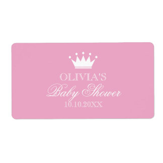 Princess crown baby shower water bottle stickers shipping label