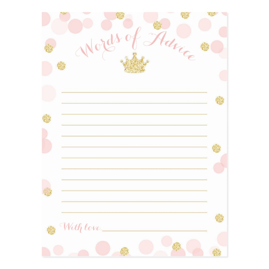 Princess Crown Baby Shower Words of Advice Postcard