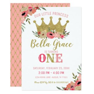 Princess Crown Birthday Invitation Pink Gold