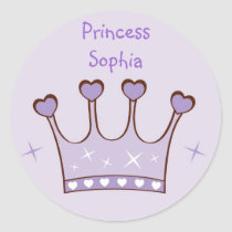Princess Crown Birthday Stickers Envelope Seals