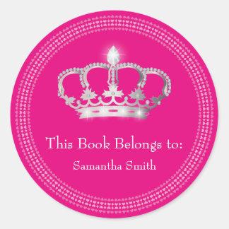 Princess Crown book label Classic Round Sticker