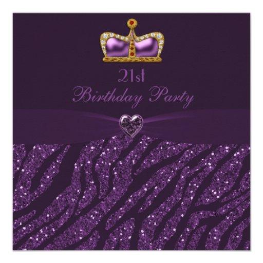 Princess Crown Heart & Zebra Glitter 21st Birthday Personalized Invitation