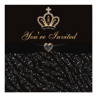 Princess Crown, Heart & Zebra Glitter Birthday Card