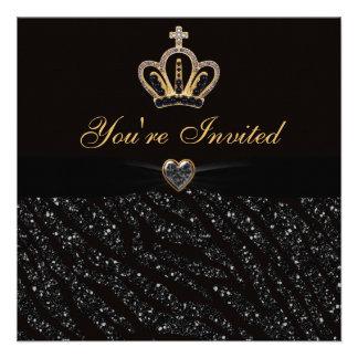 Princess Crown Heart Zebra Glitter Birthday Custom Invites