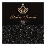 Princess Crown, Heart & Zebra Glitter Birthday 5.25x5.25 Square Paper Invitation Card