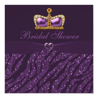 Princess Crown Heart & Zebra Glitter Bridal Shower Card