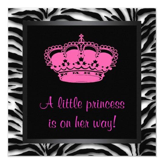 Hot Pink Zebra Bathroom Accessories: Princess Crown Hot Pink Zebra Baby Girl Shower Card