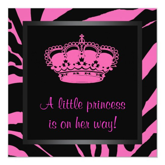 Princess Crown Hot Pink Zebra Baby Girl Shower Card