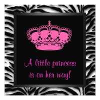 Princess Crown Hot Pink Zebra Baby Girl Shower Personalized Announcements
