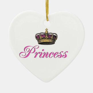 Princess crown in hot pink ceramic ornament