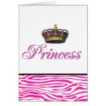 Princess crown in hot pink greeting card