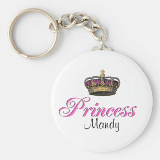 Princess crown in hot pink keychain