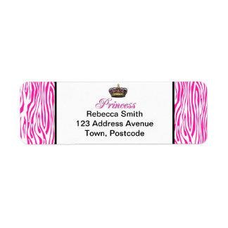 Princess crown in hot pink return address label