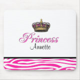 Personalized name Princess crown in hot pink mousepads