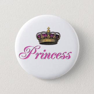 Princess crown in hot pink pinback button