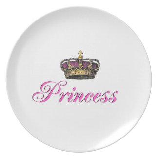 Princess crown in hot pink dinner plate