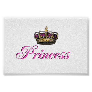 Princess crown in hot pink poster