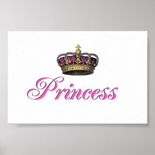 Princess crown in hot pink posters