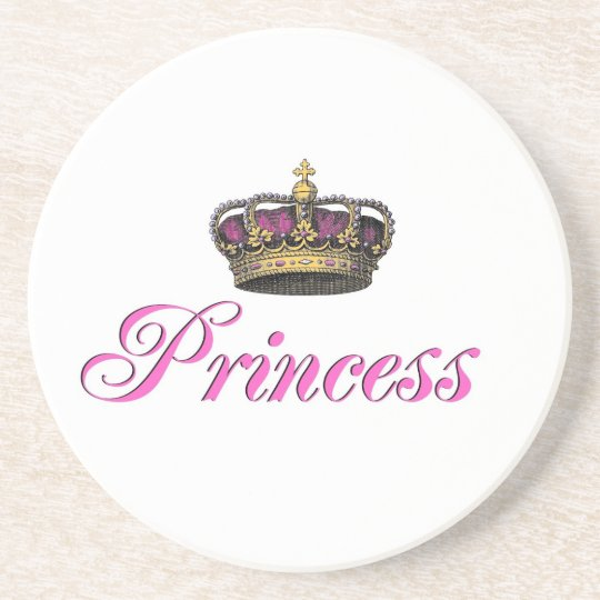 Princess crown in hot pink sandstone coaster