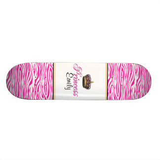 Princess crown in hot pink skateboard deck