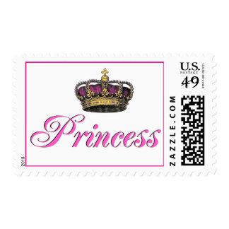 Princess crown in hot pink stamp