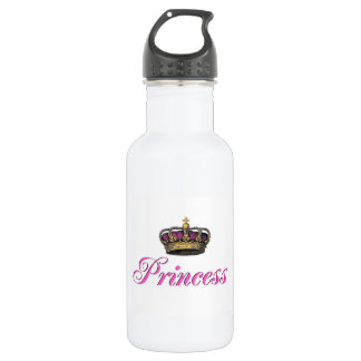 Princess crown in hot pink water bottle