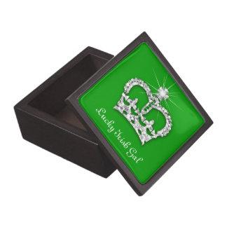 Princess Crown Jewelry Box Irish Green Crystal Premium Keepsake Boxes