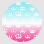 Princess crown pattern with gradient classic round sticker